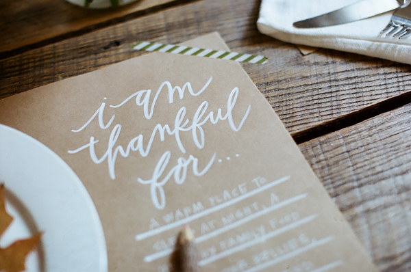 Chelsea Petaja Oh My Deer DIY blog thanksgiving placemat kraft paper white ink