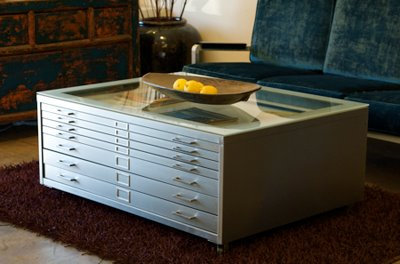Sonrisa Furniture vintage steel flat file/coffee table