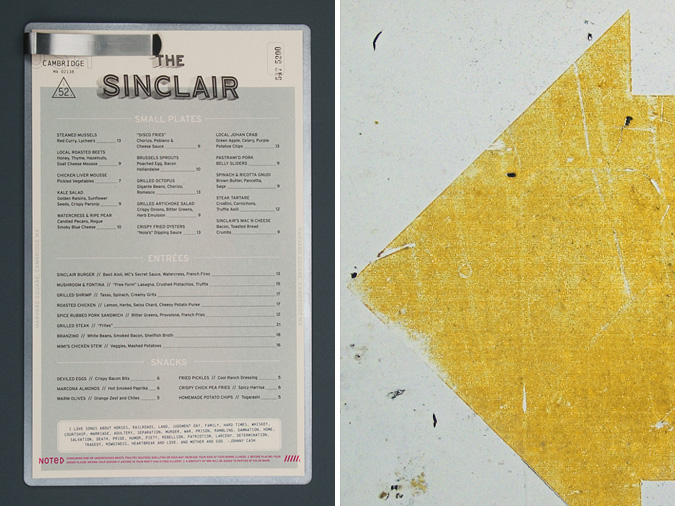 The Sinclair Dinner Menu // By Oat