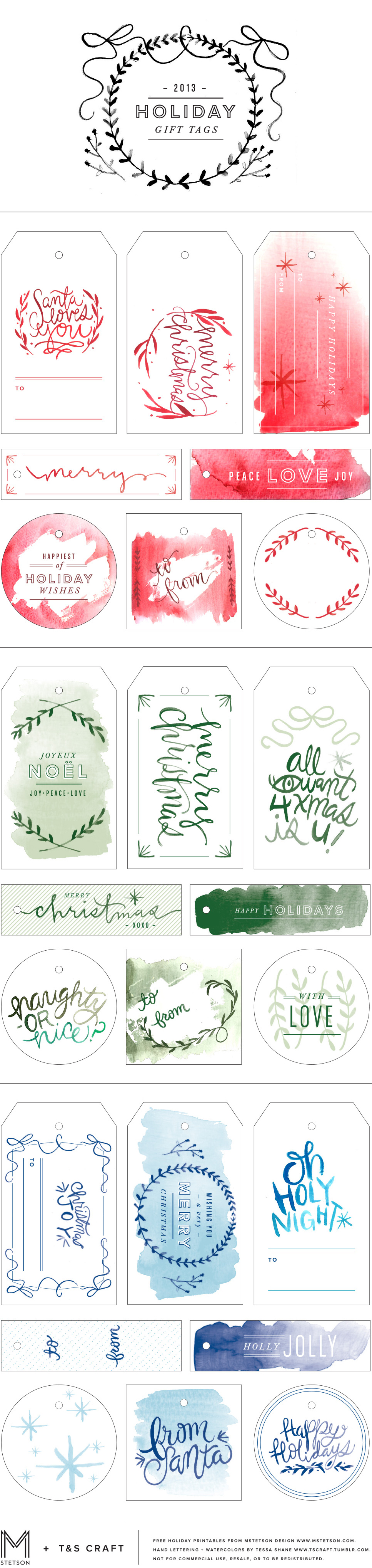 free watercolor hoilday christmas gift tag printables downloadable via mstetson design and t&s craft