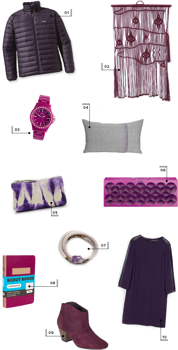 holiday christmas gift guide round-up mstetson design purple gift ideas